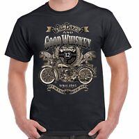 Mens Biker T shirt Whiskey & Old Vintage Classic Motorcycle Bobber Chopper 206