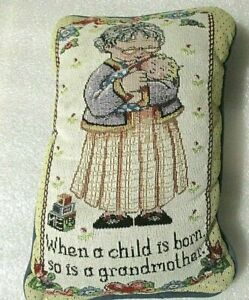 """Decorative Needle point Toss Pillow GREEN BEIGE """"EVERY TIME A CHILD IS BORN"""""""