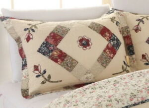 VICTORIAN TREASURES 20x36 King SHAM : COTTON IVORY RED BLUE FLORAL COUNTRY CHIC
