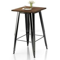 """Heavy-Duty Metal Bar Table Solid Elm Wood Top 23.6"""" Square 41.3"""" High Bistro"""