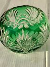 Vintage Bohemian Crystal Green Cut to Clear Glass Bowl, 6