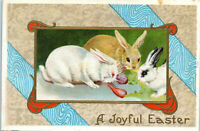 ~Cute~Bunny Rabbits Eating Carrots~~Antique Embossed Easter ~Postcard-p700