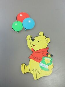 Vintage Winnie the Pooh and Balloon Wall Plaques Set of 2 Nursery Decor