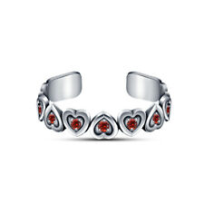 Ladies Heart Shape Adjustable Toe Ring 14K White Gold Over Round Red Garnet
