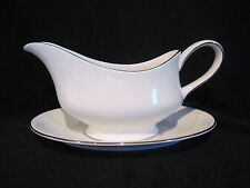 Wedgwood SILVER ERMINE - Gravy Boat and Stand - Contour Shape