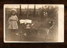 Darling Girl Playing with Doll & Dog while Cats Drink ~ Vintage RPPC postcard