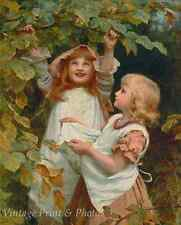 Nutting by Frederick Morgan - Art Little Girls Gathering Nuts 8x10 Print 0793