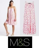 Ex Marks & Spencer dress Pink red white palm Beach Holiday Wear Lightweight