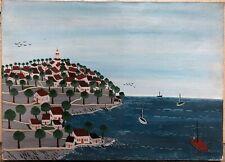 Anne-Marie Sabatier (1947) Saint-Tropez Marine Art Naïf