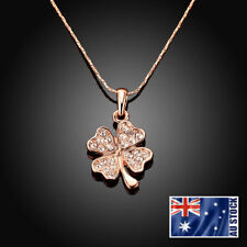 18K Rose GOLD Filled Lucky Flower Crystal Clover Pendant Charm Necklace Elegant