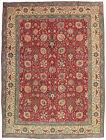 Vintage Persìan Tabrìz 10'x13' Red Wool Hand-Knotted Oriental Rug