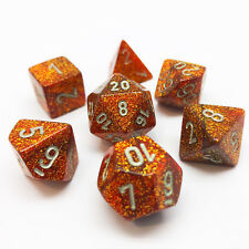 Chessex Dice Glitter Gold w/ Silver Poly Set of 7 - 27503 - RPG D&D