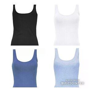 PRIMARK WOMEN COTTON VEST TOP PLAIN COLOUR STRETCHY OR SLOUCHY 8-20 BNWT