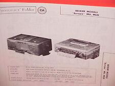 1958 BECKER AM-FM RADIO SERVICE MANUAL EUROPA MU MUK JAJUAR TRIUMPH VW PORSCHE