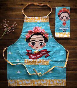 Frida Kahlo All Purpose One Pocket Apron with dish rag (Teal)