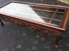 LOVELY WOOD LONG JOHN COFFEE TABLE GLASS TOP
