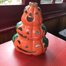 "6"" Vintage Orange 3 Scary Pumpkin Tea Light Statue Halloween Candle"