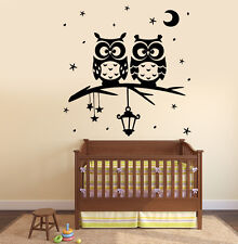 Wall Vinyl Decal Owl Tree Night Romantic Kids Nursery Children Decor z3798