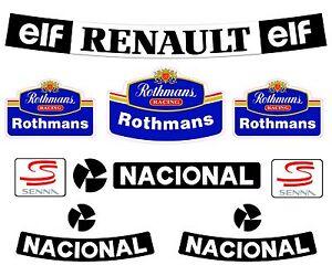 Senna F1 Helmet Full Size Rothmans Sticker Kit Full Size Helmet 1.1 Bell M3 Arai