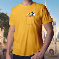 Mickey Mouse in a Pocket Disney Walt Designer Tee Mens Unisex Crew Neck T-Shirt