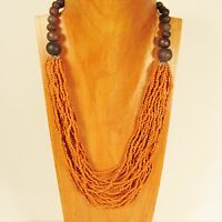 "25"" Waterfall Multi Strand Orange Handmade Wood Accent Seed Bead BOHO Necklace"