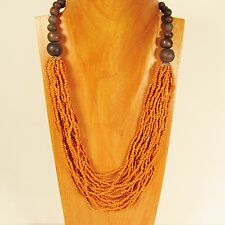 "25"" Graduated Multi Strand Orange Handmade Wood Accent Seed Bead Necklace"