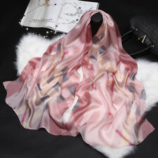 """100% Pure Mulberry Silk Women Large Long Scarf Shawl Check Style 69""""*26"""""""