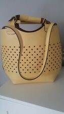 ZARA Yellow Buffalo Leather Plaited Bucket Bag Tote Shopper Women Ladies Handbag