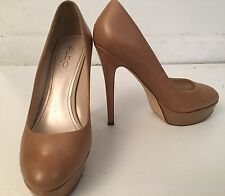 ALDO Beige Leather Heel Platform Pumps Shoes SZ 38 US 8