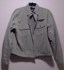 Harley Davidson Greenish Khaki Cotton Jacket Lined Mens Size S