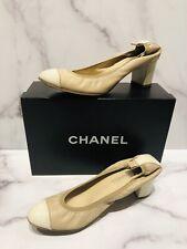 CHANEL CC Beige White Patent Leather Cap Toe Heels Shoes
