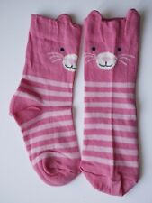 Girls / Kids Socks  Age 3-5 Years Pink Novelty Cotton Rich Animal Cat