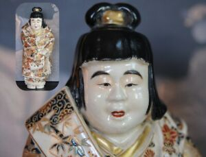 KIZAN Museum Gosu Blue Japanese SATSUMA okimono statue GOLD Doll Meiji ANTIQUE