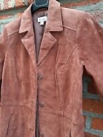 New Denim & Co WASHABLE SUEDE Spice BROWN Mid Length JACKET XS (XXS)