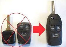 3 Botón Voltear Llavero Estuche Mejora Para Volvo S40 V40 S70 C70 V70 S80 remoto