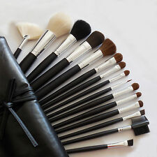 Pro 15 Pcs Makeup Brushes Set Kit With Black Faux Leather Cosmetic Bag Case New