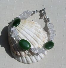 "Green Nephrite Jade & Clear Quartz Gemstone Crystal Bracelet ""Frosty Pine"""