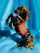 SWAROVSKI CRYSTAL BEJEWELED ENAMELED HINGED TRINKET BOX - BLACK STALLION(HORSE)