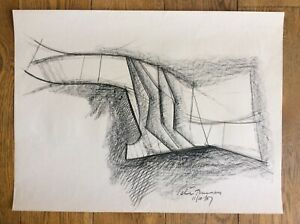 Peter Thursby Abstract Architectural Charcoal Drawing Sculpture Signed Date 1967