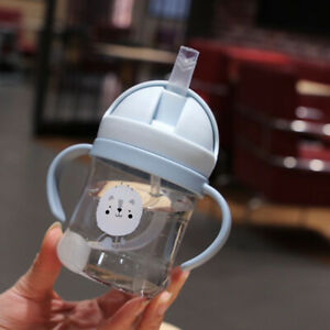 Drink Cup 300ml Children Cartoon Infant Straw Cup Baby Handle Water Bottle Sippy