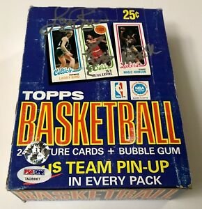 Magic Johnson Larry Bird Julius Erving Triple Signed 1980 Topps Box PSA/DNA COA