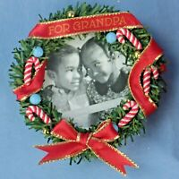 Hallmark For Grandpa - Wreath Photo Holder Keepsake Ornament Original Box NOS