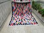 Vintage Handmade Moroccan Beni Ourain Rug Azilal Cotton Carpet Berber Tribal Rug