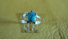 Turtle Turquoise Inlay Ring Sterling Silver Split Band Size 8 3/4  Zuni