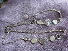 """VINTAGE SARAH COVENTRY 38"""" NECKLACE GOLDTONE CHAIN AMBER/BEIGE DISCS"""