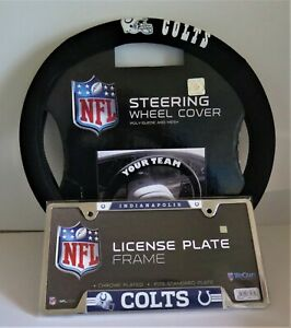 INDIANAPOLIS COLTS SUEDE AND MESH STEERING WHEEL COVER AND LICENSE PLATE FRAME
