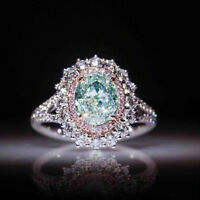 Women Ladies inlaid Green Topaz Pink Crystal Ring Fashion Party Jewelry Gift New