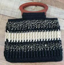Crocheted Mini Tote Bag Purse Black Beige Stripe Knit Rosewood Makeup Handbag