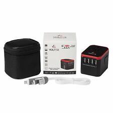 Voltex Travel Adapter. 4 x 2.4A USB Type-A (Tot 5.6A) + 1 x 3A USB Type-C + Lead