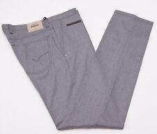NWT $535 PT01 Heather Gray Brushed Twill Wool Jean-Cut Pants Slim 35 (Eu 52)